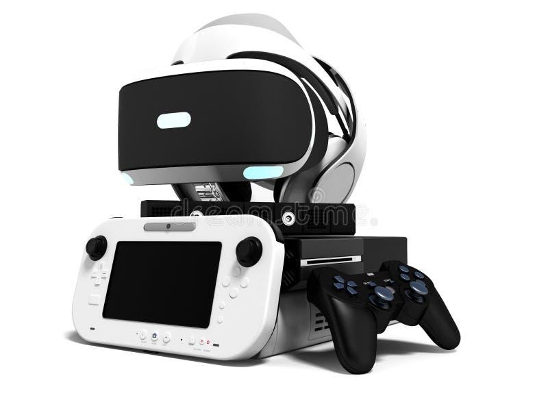 La videoconsola de Seth con los auriculares 3d de la realidad virtual de los vidrios rinde en el fondo blanco con la sombra libre illustration