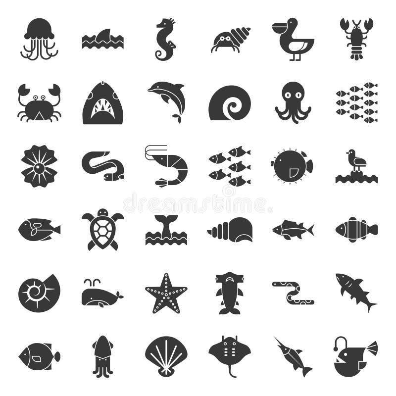 La vie aquatique d'océan telle que le poulpe, coquille, pélican, troupeau de poissons, illustration libre de droits