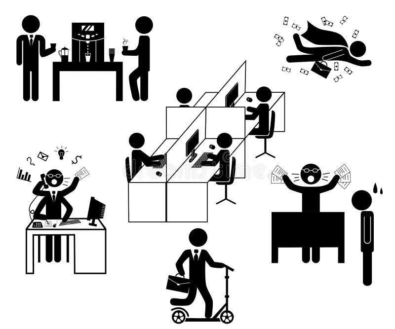 La vie courante quotidienne de bureau avec des bâtons illustration stock