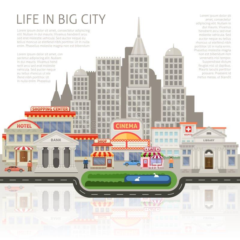 La vie dans la grande conception de ville illustration de vecteur