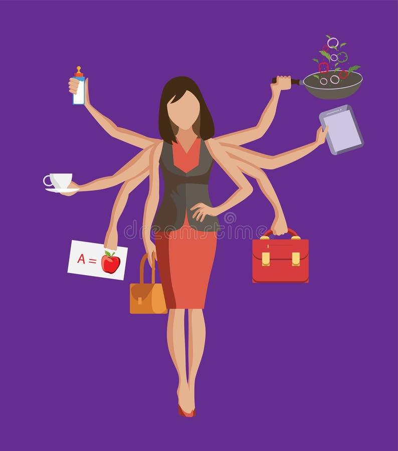 La vie de équilibrage de femme multitâche avec l'illustration multiple de mains illustration de vecteur