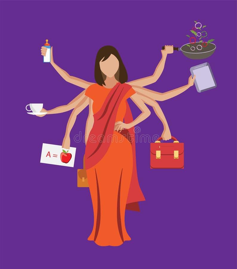 La vie de équilibrage de femme multitâche indienne avec l'illustration multiple de vecteur de mains illustration stock