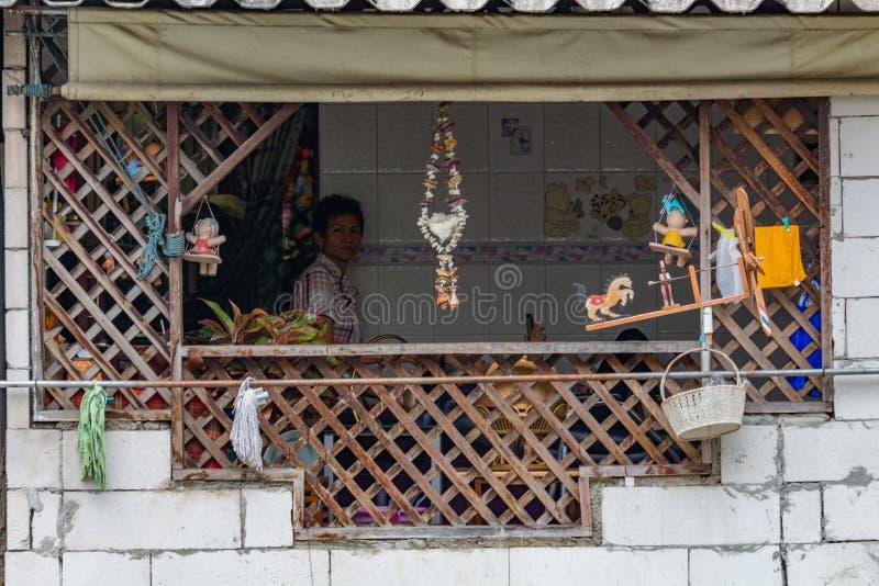 La vie de détail de terrasse de rive à Bangkok image libre de droits