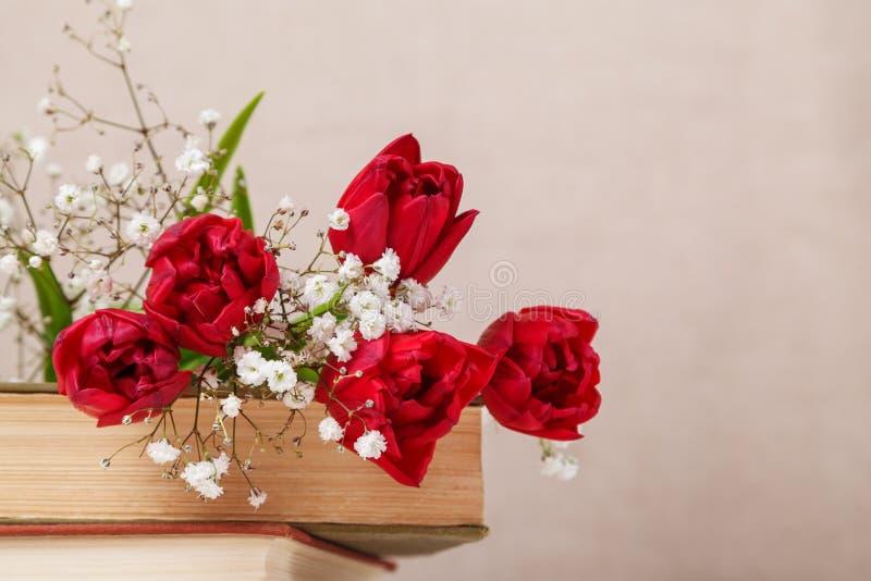 La vie de distillateur de cru avec les tulipes rouges d'un ressort et livres sur un fond beige Le jour de m?re, concept du jour d photos libres de droits
