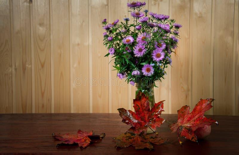 La vie de distillateur d'automne avec le groupe de fleurs photos libres de droits
