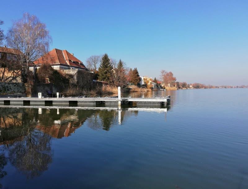 La vie de distillateur d'hiver dans la rive de Danube, Rackeve photographie stock
