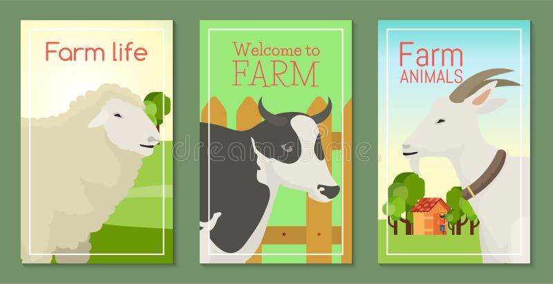 La vie de ferme avec l'ensemble d'animaux d'illustration de vecteur de bannières Collection d'animaux familiers mignons Animaux d illustration de vecteur
