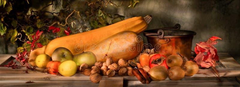 La vie de fruit d'automne peinte par lumière toujours images stock