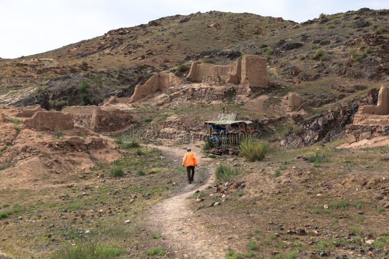 La vie de nomade du mongolian sur la savane photos libres de droits
