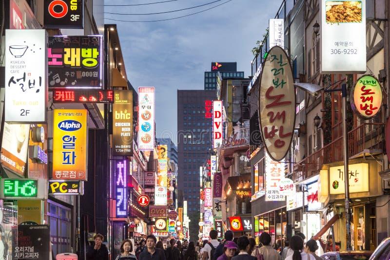 La vie de nuit de Séoul image stock