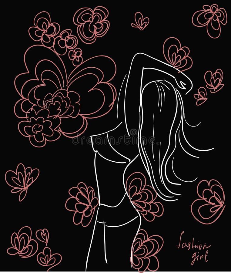La vie de partie de style avec le croquis bronzage de fille. illustration stock