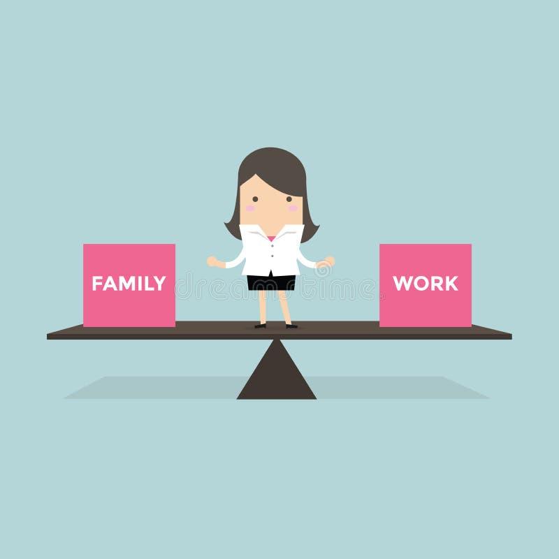 La vie debout d'équilibre de femme d'affaires avec la famille et le travail illustration de vecteur