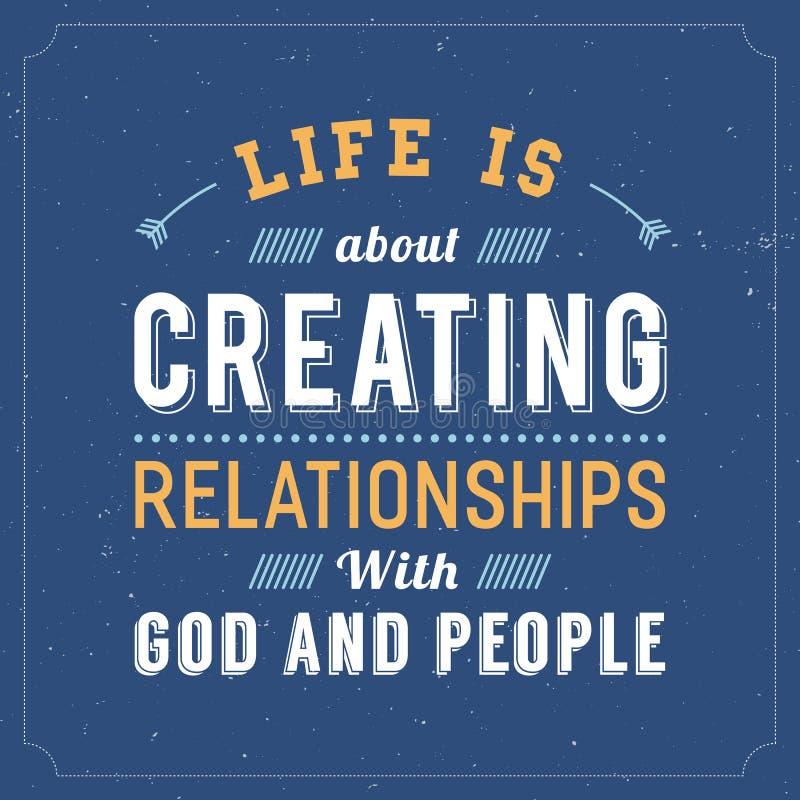 La vie est au sujet de créer des relations avec Dieu et des personnes illustration de vecteur