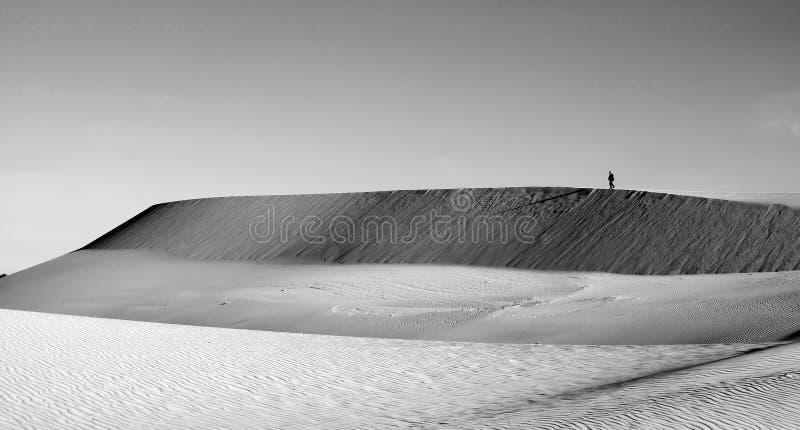 La vie est le voyage, homme seul sur la colline de sable image stock