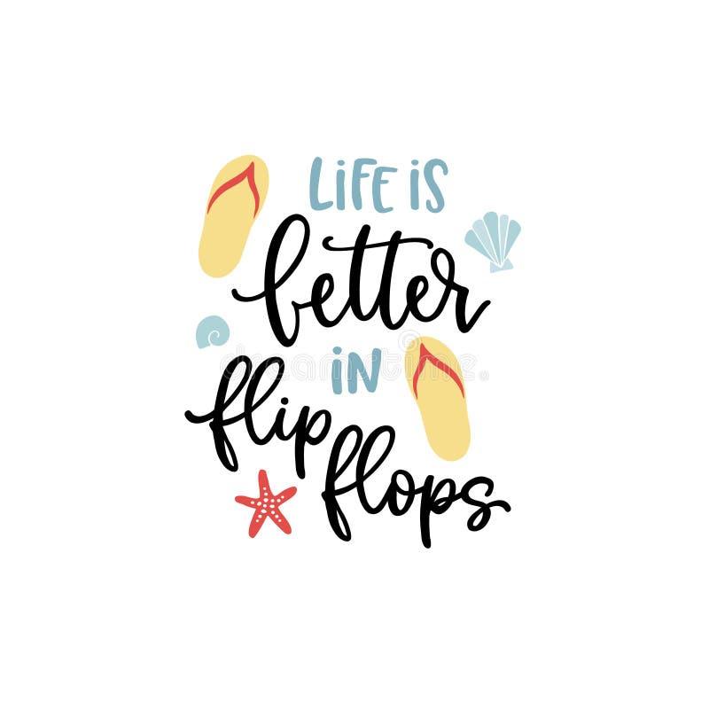 La vie est meilleure dans des bascules ?lectroniques carte de citation de Main-lettrage avec l'illustration de coquilles d'étoile illustration libre de droits