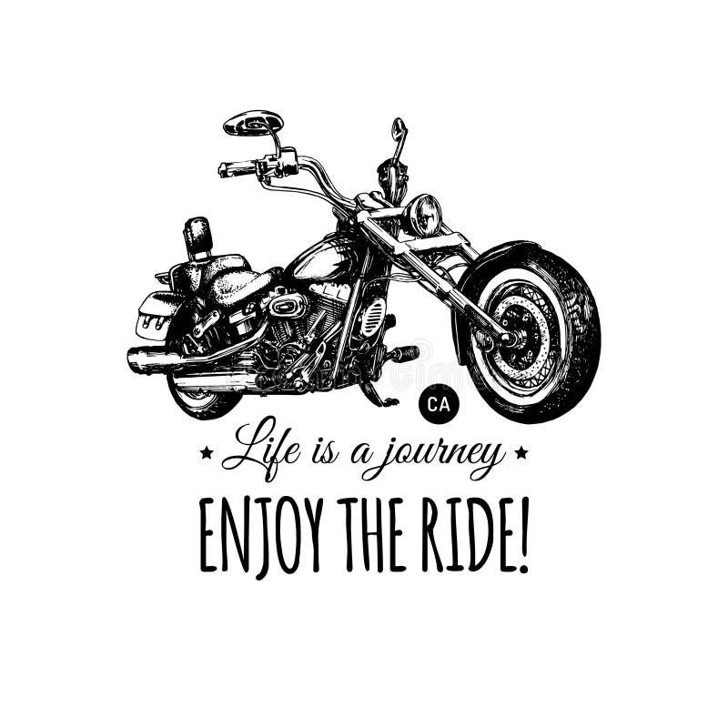 La vie est un voyage, apprécient l'affiche inspirée de tour Couperet tiré par la main de vecteur pour le label de MC Illustration illustration de vecteur