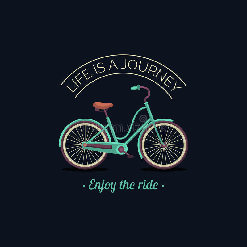 La vie est un voyage, apprécient l'illustration de vecteur de tour de la bicyclette de hippie dans le style plat Affiche inspirée illustration libre de droits