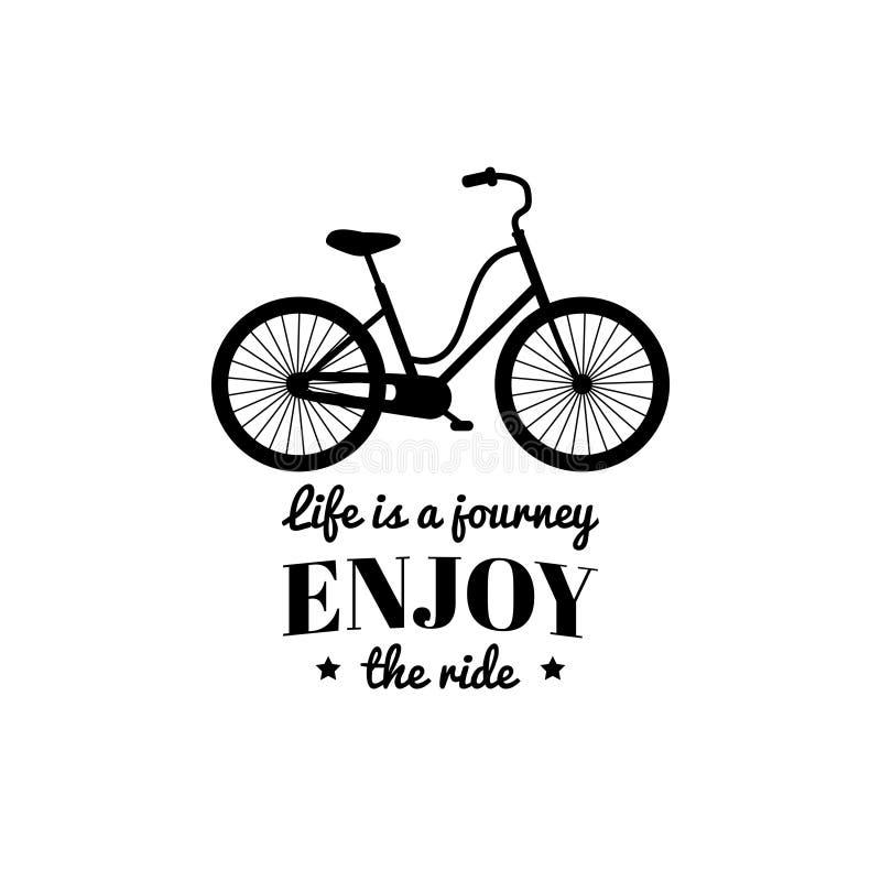 La vie est un voyage, apprécient l'illustration de vecteur de tour de la bicyclette de hippie dans le style plat Affiche inspirée illustration de vecteur