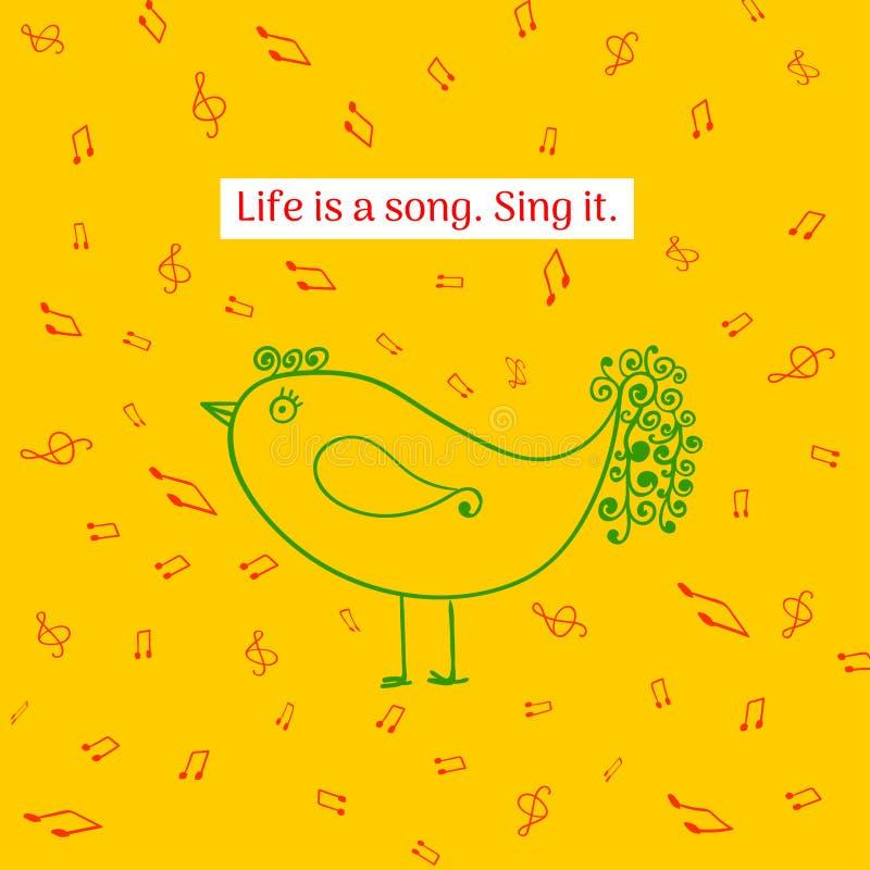 La vie est une chanson Chantez-le Citation inspir?e Illustration drôle pour des bannières, carte de voeux, affiche de s illustration libre de droits
