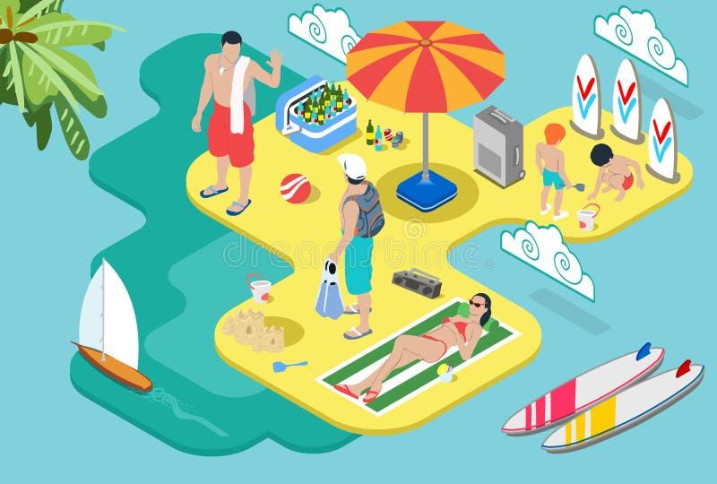 La vie isométrique de plage - concept de vacances d'été illustration de vecteur