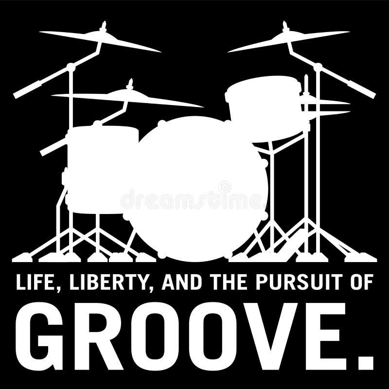 La vie, liberté, et la poursuite de la cannelure, illustration de vecteur d'isolement par silhouette d'ensemble du tambour du ba illustration de vecteur
