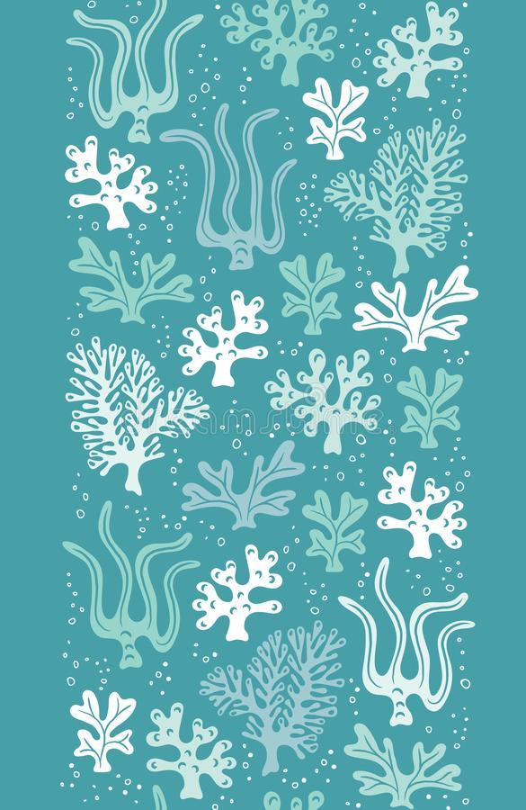 La vie marine tir?e par la main mignonne lunatique, coraux, algue, algues dirigent la fronti?re verticale sans couture r illustration de vecteur