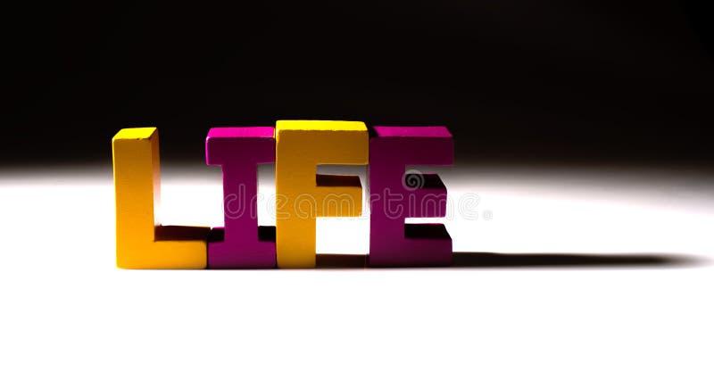 La vie multicolore de mot faite de bois. image stock