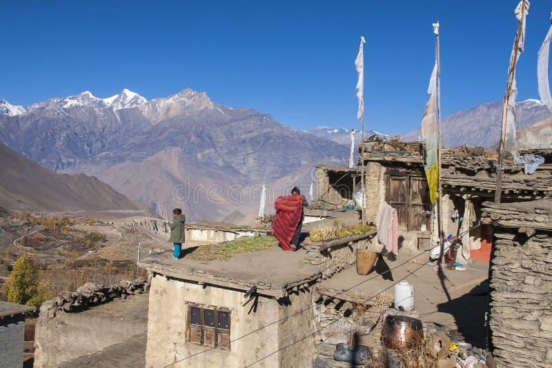 La vie quotidienne des villageois Jharkot image libre de droits