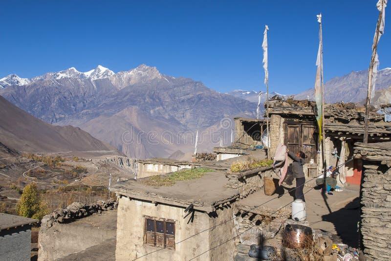 La vie quotidienne des villageois Jharkot photographie stock libre de droits