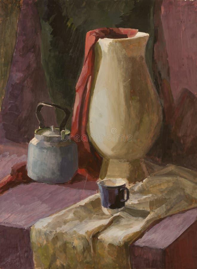 La vie toujours avec la peinture blanche de gouache de vase et de théière illustration stock