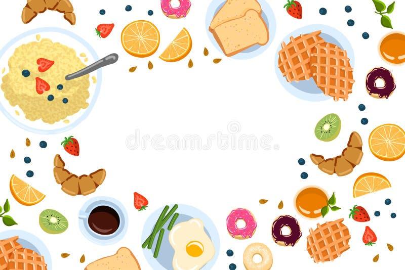 La vie toujours avec le petit déjeuner dans une vue supérieure de style plat de griffonnage et avec l'endroit pour l'illustration illustration de vecteur