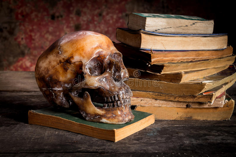 La vie toujours avec un crâne et un livre photographie stock