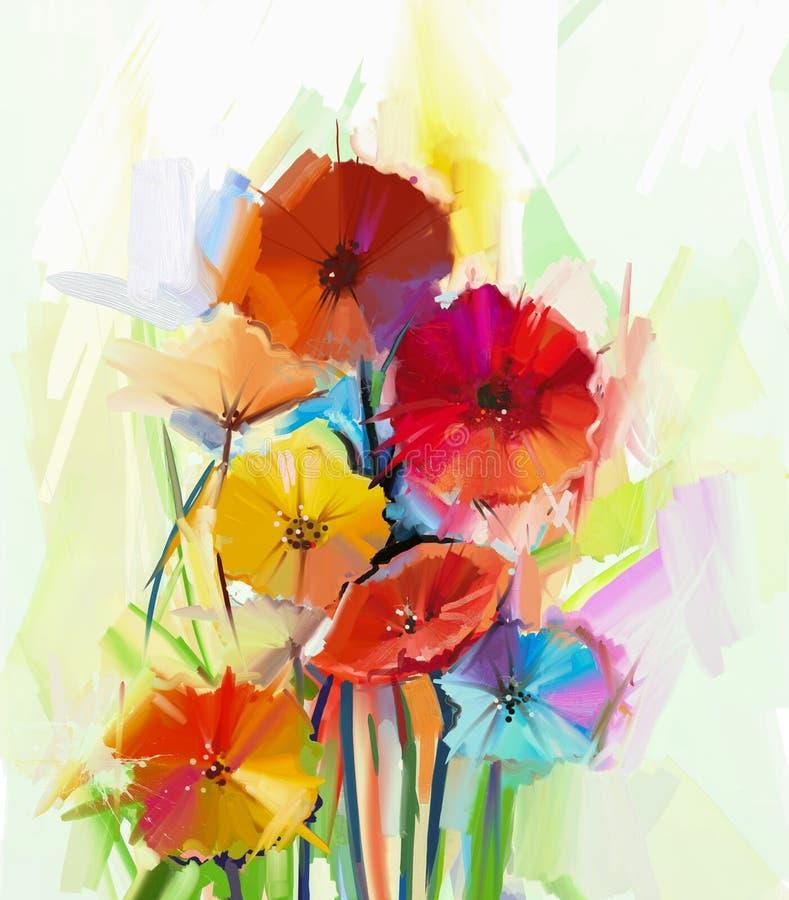 La vie toujours de la peinture à l'huile de fleur de gerbera illustration stock