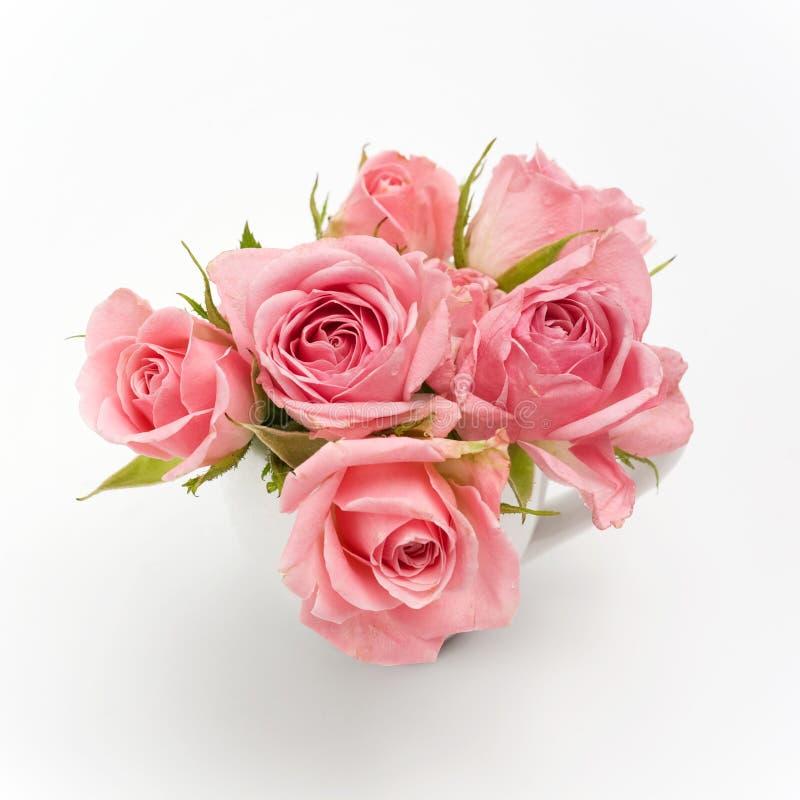 La vie toujours de la rose de rose dans la tasse en céramique image stock