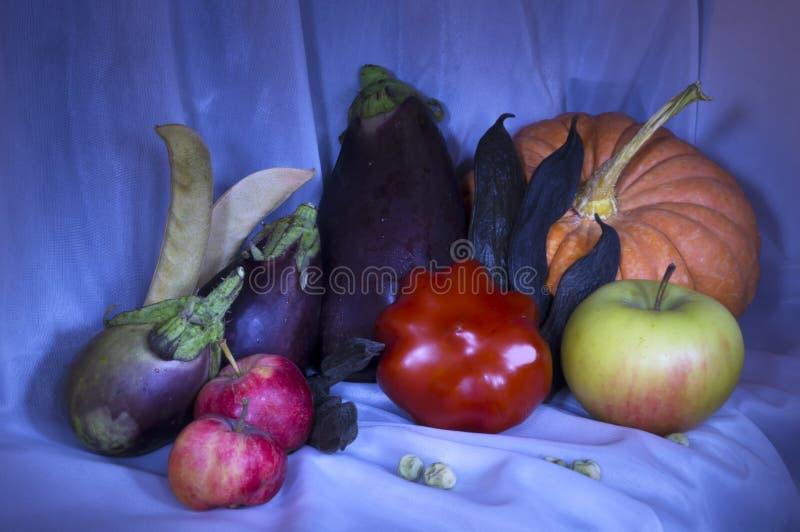 La vie toujours peinte avec une récolte légère d'automne de brosse images stock