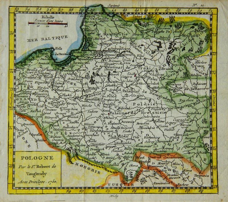 Vieille carte de la Pologne image libre de droits