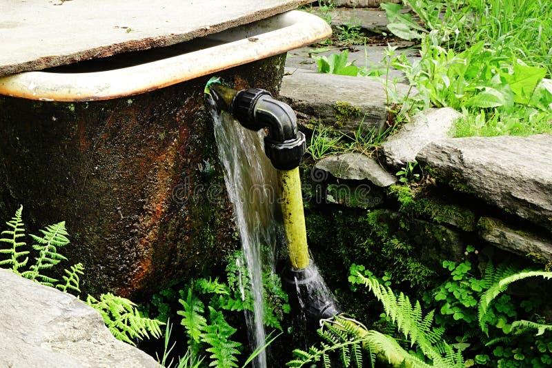 La vieille baignoire avec le tuyau jaune installé comme barrière et le réservoir d'eau sur la forêt coulent images libres de droits