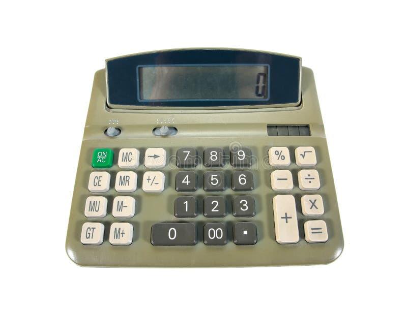 La vieille calculatrice verte pour faire le bureau a rapporté le travail d'isolement sur le fond blanc Vieille calculatrice photographie stock libre de droits