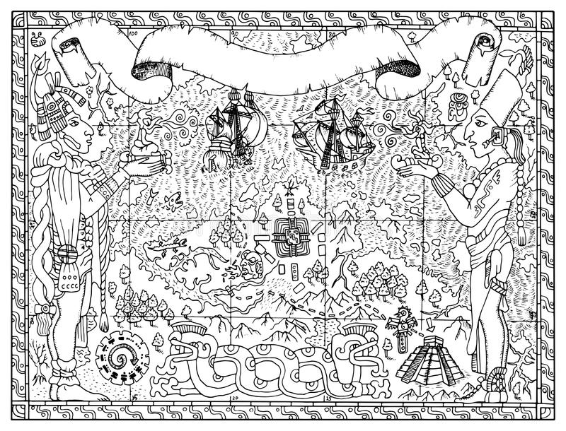 La vieille carte de Maya ou d'Aztèque des trésors, pirate risque le concept illustration stock
