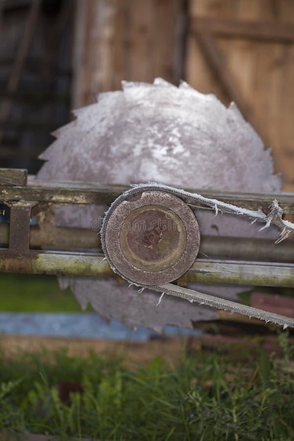 La vieille circulaire a vu pour le bois, vue de côté image libre de droits
