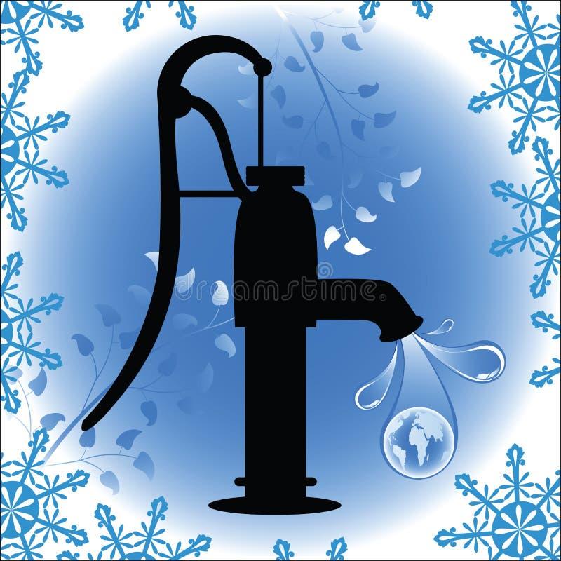 la vieille eau de pumb de globe mode par gouttelette illustration libre de droits