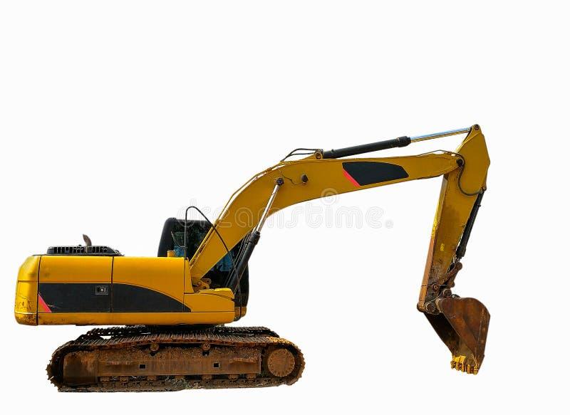 La vieille excavatrice ou pelle rétro jaune image stock