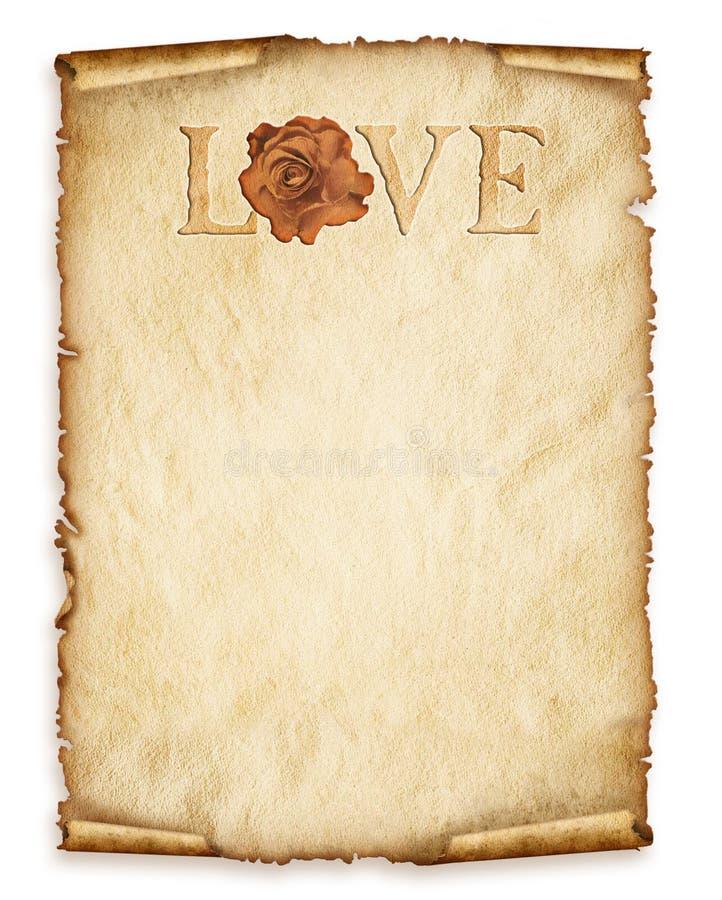 La vieille feuille de papier, vintage a vieilli le vieux papier avec rose et amour illustration stock