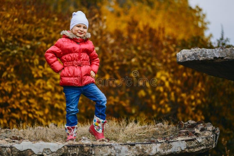 La vieille fille de cinq ans de sourire mignonne dans la veste sur le jaune d'automne laisse le fond images stock