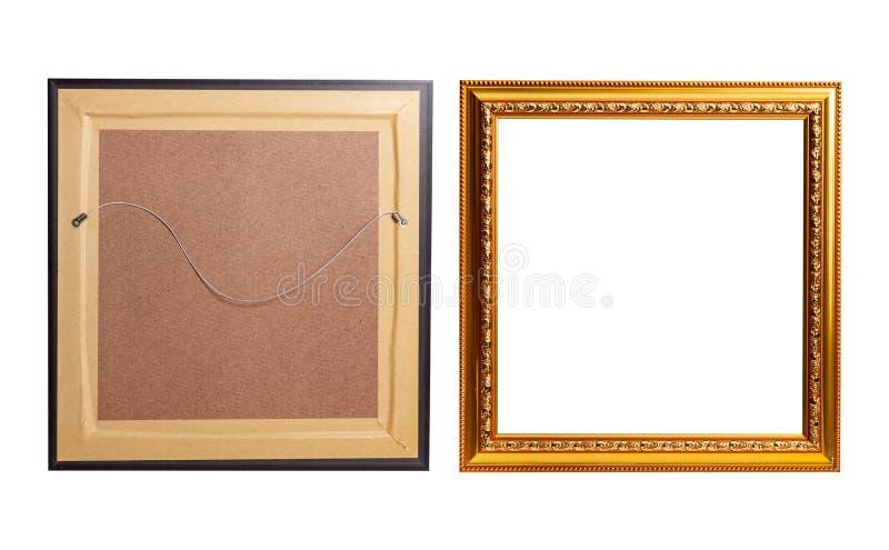 La vieille main d'or bellGolden le cadre vide de photo image stock