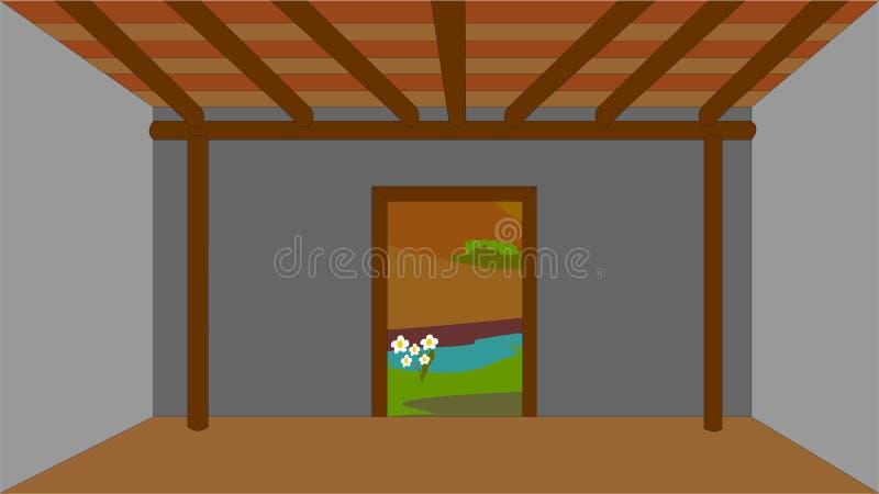 La vieille maison du ` s de berger La photo montre l'intérieur de la maison, où elle est vide sans meubles illustration stock