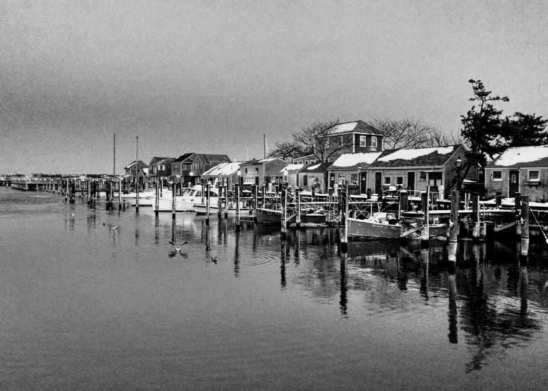 La vieille neige du sud du quai de Nantucket a couvert des cottages, Nantucket, le Massachusetts photos stock