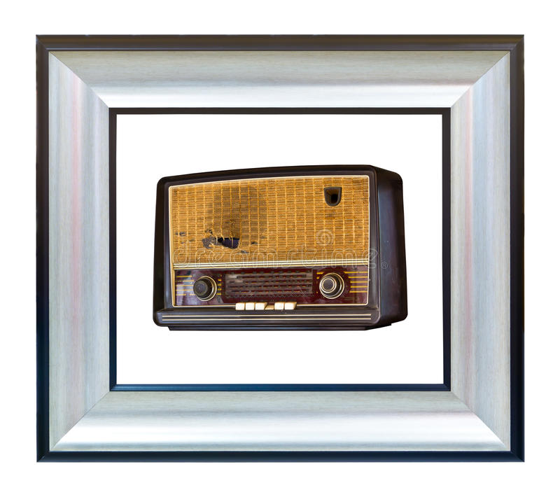 La vieille radio de cru dans des frmae modernes a isolé image stock