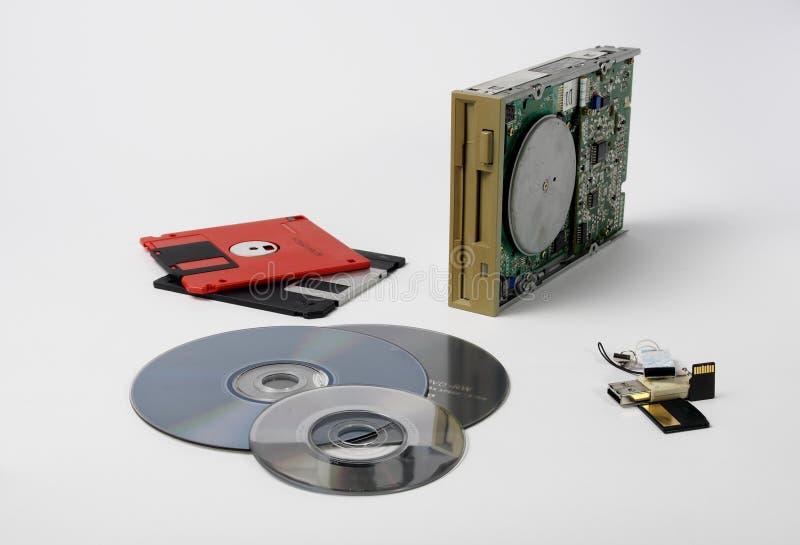 La vieille technologie qui est entrée vers le bas dans l'histoire : la commande et ses disquettes La technologie n'est pas le lon images stock