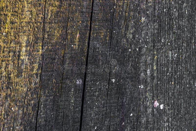 La vieille texture en bois avec les modèles et les fissures naturels sur la surface comme fond Obscurcissez du centre photo libre de droits